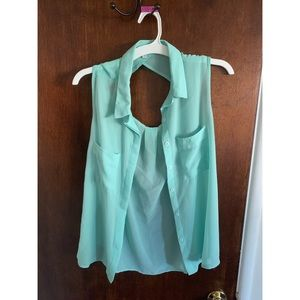Teal Sheer Button Up Tank w/ Back Cutout